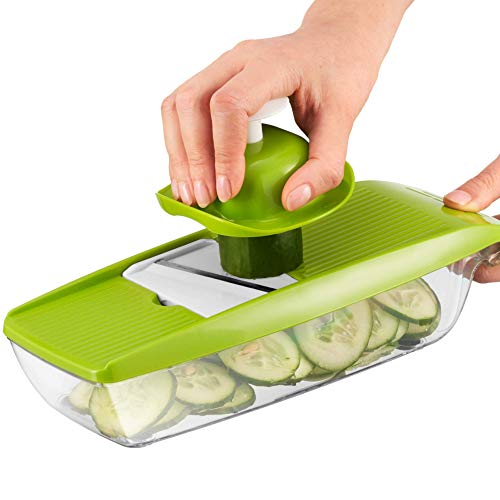 Mandolina para Comida Compacta 5 en 1 marca Twinzee - excelente para rebanar y triturar frutas y vegetales...