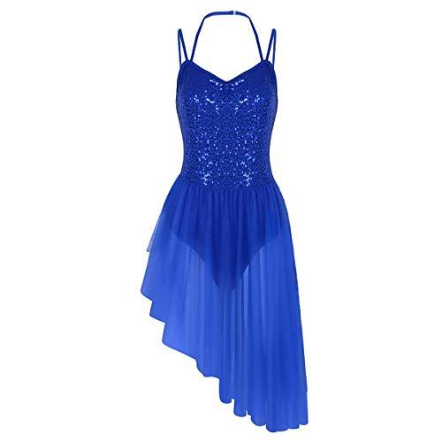IEFIEL Vestido de Danza para Mujer Maillot Ballet ConTutú Falda para Gimnasia Mujer Vestido con Lentejuelas Chica S-XXL Azul Oscuro S