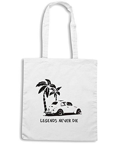 T-Shirtshock - Borsa Shopping TGAM0044 Legends Never Die - Retro BUG T-Shirt Bianco