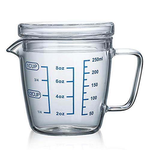 Tamume 250ml brocca di misurazione del vetro microonde misurino con coperchio dosatori (250ml)