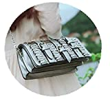 Ateasy HB0000702 Länger Große Kapazität Briefpaket Kettenpaket geldbörsedamengroßvielefächerleder umhängetascheklein schultertascheLedertasche designer taschen handtaschen (silber)