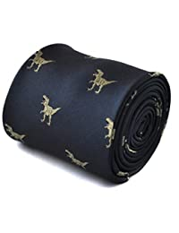Frederick Thomas navy tie with t-rex dinosaur design with signature floral design to the rear