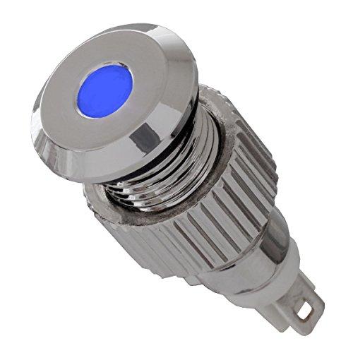 12V LED Signalleuchte IP67 blau mit 8mm Metallfassung Signallampe - Led-meldeleuchte