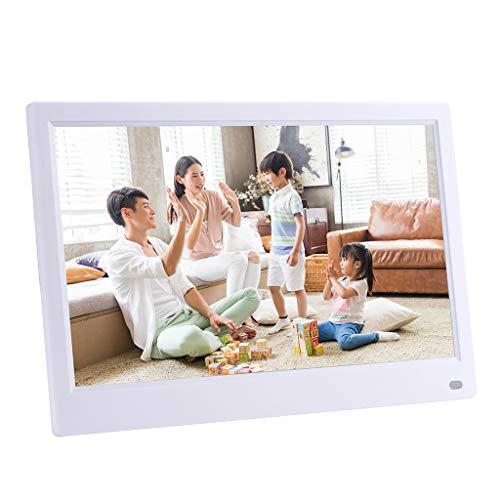 Hukz 12,5-Zoll-HD ohne menschlichen Körper Induktionsvideoplayer digitaler Multifunktionsrahmen,Front-Screen-Taste Digitaler Fotorahmen mit hochauflösendem Bildschirm (Weiß)
