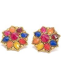 DREAM XPLORE Gold Plated Enamel Flower Shaped Stud Earrings For Girls And Women- Multi Colour