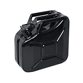 10lt BLACK Metal Jerry Gerry Can Fuel Storage Container Petrol Diesel 10L NEW **BLACK**