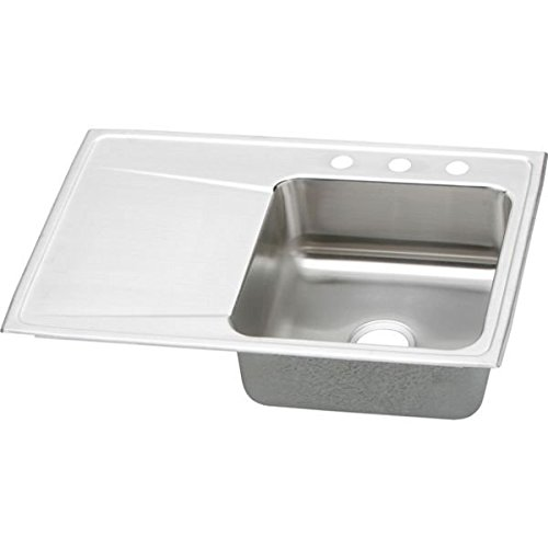 Elkay ILR3322R4 4-Hole Gourmet Lustertone Stainless Steel 33-Inch x 22-Inch Single Right Basin Top-Mount Kitchen Sink by Elkay (Küchenspüle 33 Zoll)