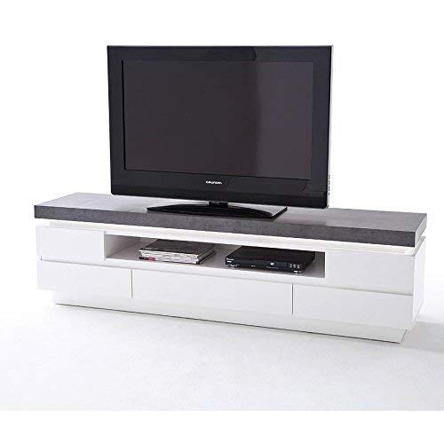 Meuble de télé Blanc Mat VERNI / gris avec éclairage LED