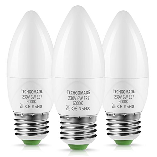 Techgomade LED E27Bougie ampoules 6W, 60W équivalent, jour 6000K Blanc givré Chandelier E27Ampoules, variateur d'intensité, 550LM, culot à vis Edison Ampoules Flamme, 3-pack