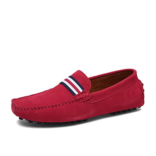 DUORO Herren Klassische Weiche Mokassin Echtes Leder Schuhe Loafers Wohnungen Fahren Halbschuhe (42,Rot 2) -