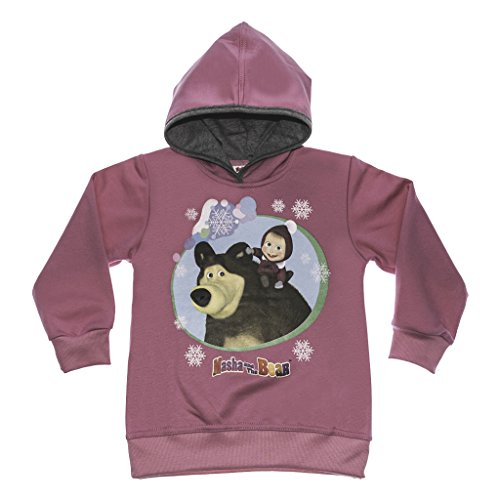 Mascha und der Bär Mädchen-Pullover LANG-ARM rosa oder pink, HOODIE GRÖSSE 92, 98, 104, 110, 116, 122, Sweatshirt, Oberteil, Kapuzen-Pulli mit süßem Motiv von Masha and the bear Color Rosa, Size 44
