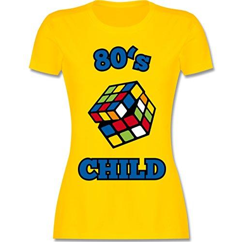 Shirtracer Statement Shirts - 80's Child - Zauberwürfel - Damen T-Shirt Rundhals Gelb