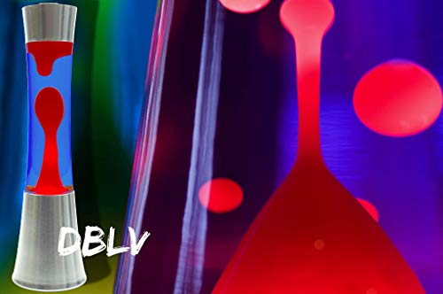 DBLV® Große Lavalampe Metall ROT BLAU Glas 40cm Design