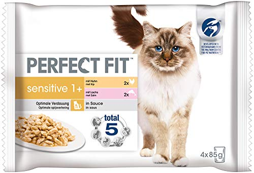 Perfect Fit Katzenfutter Nassfutter Sensitive Adult 1+ Auswahl in Sauce, 52 Portionsbeutel (13 x 4 x 85g)