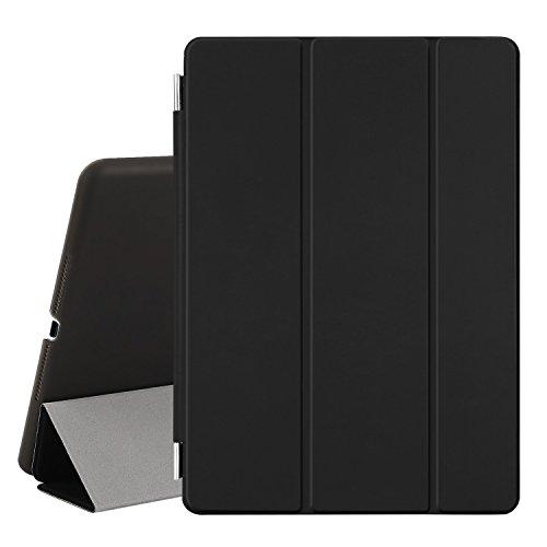 Besdata® iPad Air 2 Hülle - Ultra Dünn Edles Smart Cover Leder Case Schutz Hülle Tasche + Back Case für ipad air 2 ipad 6 - inkl. Displayschutzfolie Reinigungstuch Stift mit Multi Ständer Auto Sleep Wake (Schwarz, iPad Air 2)