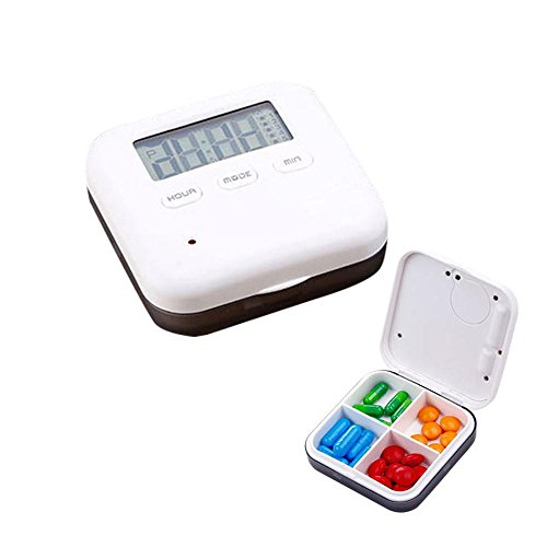 Aolvo Pillendose Klein Mini Pillendose Pillen Pillenbox Tablettenbox mit Wecker Alarmfunktion 4 Fächer Aufbewahrung für Vitamine Ergänzungen für Outdoor-Reisen, Taschenpillenetui