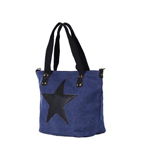 DonDon Canvas Tasche grau mit großem Stern Shopper Henkeltasche mit Schultergurt und Reißverschluss im Vintage Look 43 x 30 x 17 cm Blau-Schwarz
