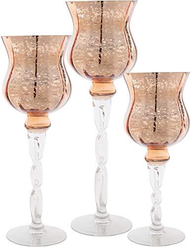 Palais Glassware Elegante Bougeoir-Kollektion Hurricane Kerzenhalter, 3 Stück Copper and Clear Tulip Twisted Stem Tulip Hurricane