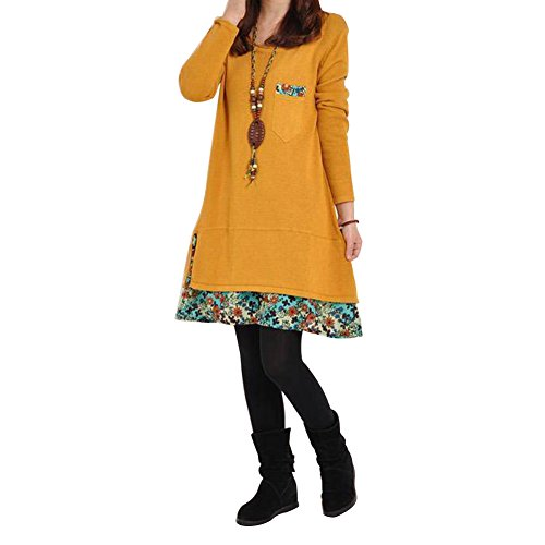 Eleery - Robe - Manches Longues - Femme Jaune