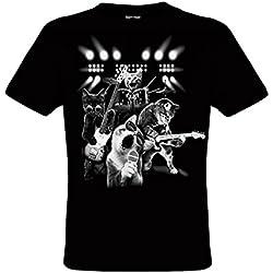 DarkArt-Designs Cat Rock - Camiseta del gato para hombres y mujeres - Motivo de animales Estilo de vida T-Shirt regular fit, negro, L