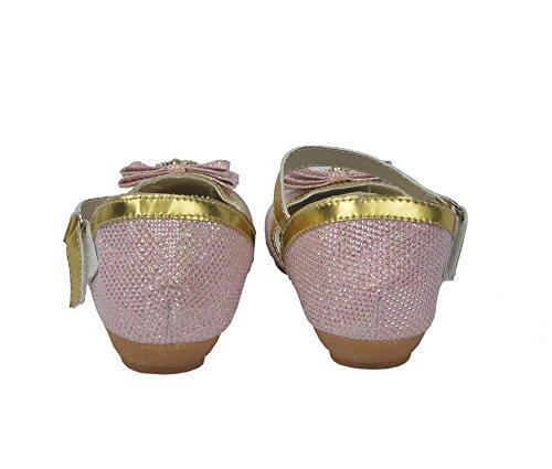 Donne colorato lucido ballerina con fibbia piatta scarpe Comfort Rosa