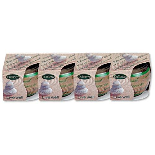 4er Pack Duftkerzen im Glas, Raumduft, viele Düfte, Auswahl: Live Well, Vanille