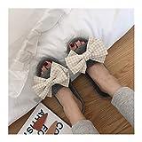 OMFGOD Slippers Frauen Winter Home Hausschuhe Warm Anti-Slip Innen Soft Bequem Baumwolle Velours Liebhaber Boden Schuhe, 40-41, Esche Gelben Schmetterling