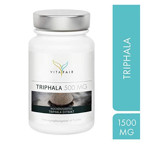 Triphala Extrakt - 1500 mg pro Tagesdosis - 180 Kapseln - Hochdosierte Ayurvedische Dreifrucht aus Haritaki, Amalaki und Bibhitaki - Vegan - Ohne Magnesiumstearat - Made in Germany