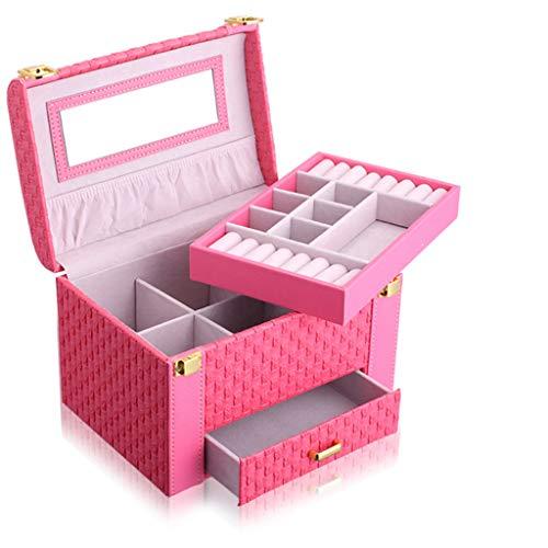 Schmuckschatulle, Schmuck Organizer und Speicher-Fall-Kassetten für Ringe, Ohrringe, Halsketten-Geschenk für Mädchen Mutter Frauen-Rose rot (Speicher-schublade Kassette)