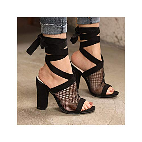 Women Sandals Sexy High Heel Sandals for Summer Shoes Woman Breathable Mesh Sandalias Mujer 2019 Square Heel Chaussures Femme Black 10