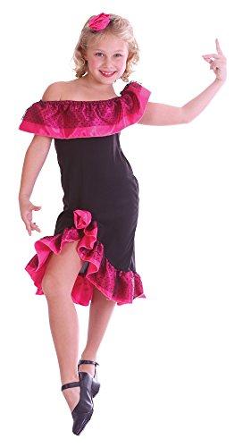 Flamenco Mädchen schwarz-rosa Größe (Mädchen Flamenco Kostüme)