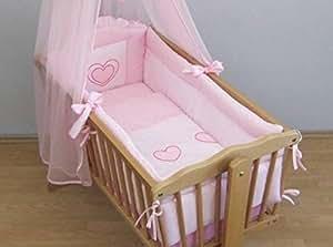 Bettumrandung  cm design herz bestickt rosa
