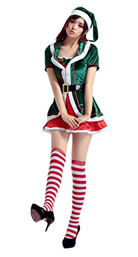 Honeystore Damen's Weihnachtsfraukostüm Cosplay Outfit Weihnachten Karneval Party Kleid One Size Grün 1245