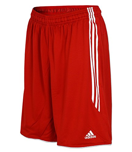 adidas Herren Short Trainingsshort Basketball Short (2XL/2 (XXL in Langgröße), rot-weiß)
