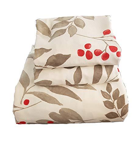 Friends at Home Bettwäsche-Set für Queen, 100% Baumwolle, weich, hypoallergen, bequem, flauschig, Hotel-Collection, schweres Flanell, Blumenmuster, Weiß/Rot