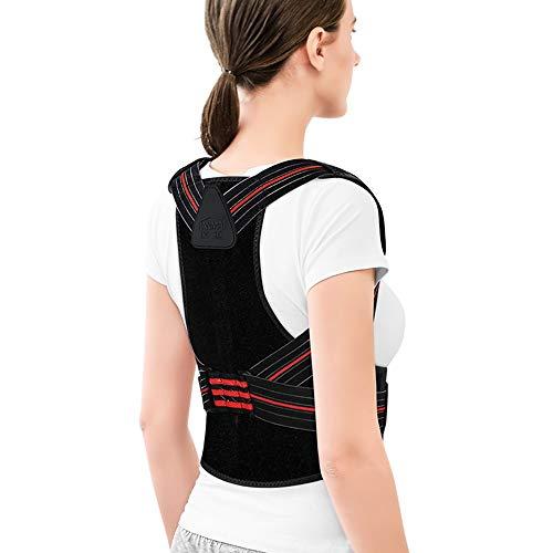 Haltungsunterstützung für Frauen und Männer, verstellbare Rückenstütze und Schulterstütze für Körperkontrollen, verbesserte Haltung zur Reduzierung von Rücken- und oberen Rückenschmerzen, schwarz (Frauen Gurt Weste Feine)