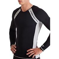 Linebreak - Maglietta a compressione da uomo, maniche lunghe, nero (nero/argento), S