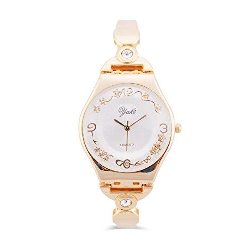 Yaki Edle Damenuhren Gold Quarz Armbanduhr Damen Armreifen Uhr Blumenmuster Zifferblatt mit Metalband