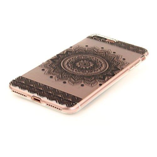 Felfy iphone 7 Plus Silikone Case,iphone 7 Plus Hülle,iphone 7 Plus Schutzhülle Ultra Dünnen Weiche Gel TPU Silikone Transparent Schutzhülle Bumper Case Handy Tasche Hülle für Apple iPhone 7 Plus 5.5  Schwarze Mandala