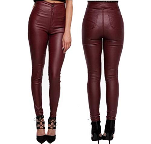2a07afb6a2b14 Girlfriendmaterial Gfmaterial Womens Skinny Fit Pu High Waist Leather Wet  Look Legging Jeans Stretch - £20.99