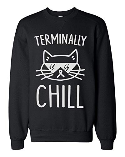 Finest Prints Terminally Chill Cool Cat with Sunglases Unisex Sweatshirt Large (Hipster-sunglases)