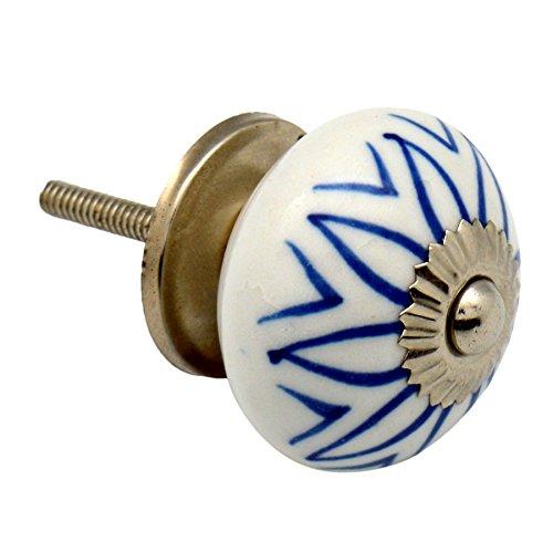Preisvergleich Produktbild Nicola Spring Keramik Schrankschublade Knauf - Blumen-Design - Hellblau