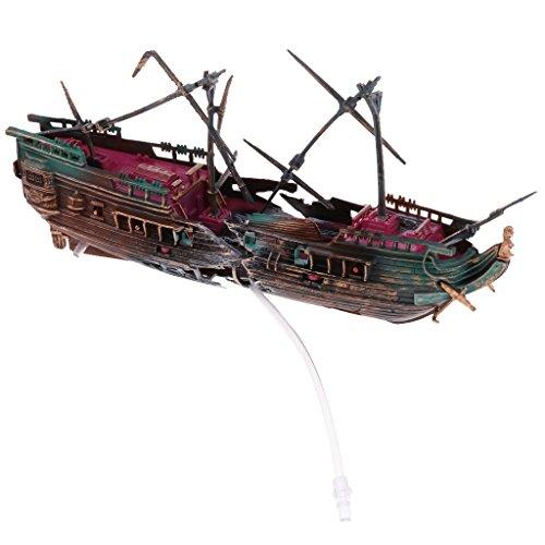 D Dolity Aquarium Ornamente Schiff Wrack Fish Tank Dekoration - Farbe 2
