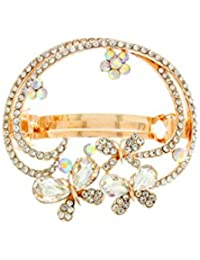 Anuradha Art Golden Colour White Colour Butterfly Inspired Dazzling Hair Accessories Back Pin For Women/Girls