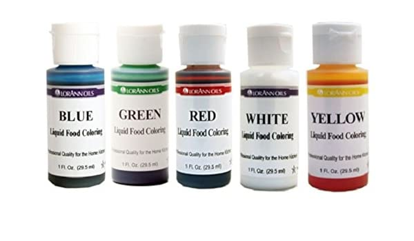 Lorann Oils Liquid Food Coloring - Primary Colors - Set of Five 1 ...