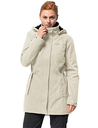 Jack Wolfskin Damen Madison Avenue Coat Mantel, Weiß (White sand), M - Weiße Mäntel