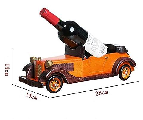 Z & Hao Car Style en bois massif de vin Décoration Salon support pour bouteille de vin vintage cars - orange