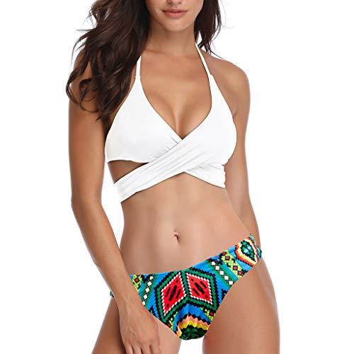Bfmyxgs Women Sexy Solid Bikini Set Push-Up Padded Swimwear Bathing Swimsuit Beachwear Cross Bandage ()