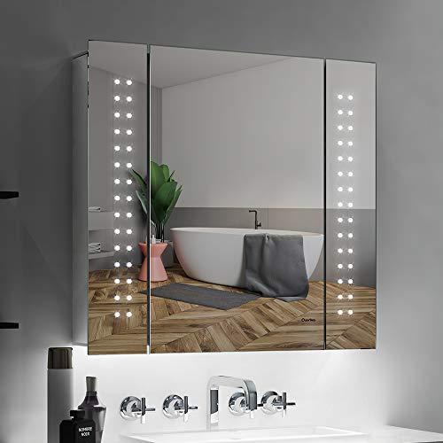 Quavikey LED Spiegelschrank Badezimmer Spiegelschrank 65x60cm(B*H) Aluminium mit Beleuchtung Lichtspiegelschrank Hinterbeleuchtung Rasier Steckdose Antibeschlag IR-Sensor Schalter