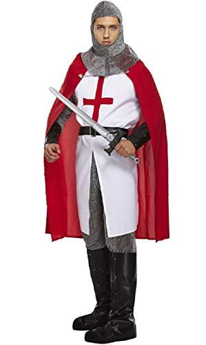 Herren 6- Teiliges Deluxe St Georges Tag Ritter Mittelalterlich Kostüm Kleid Outfit STD & XL - Multi, STD